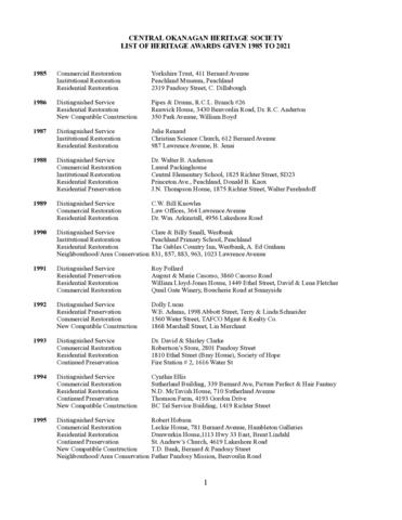 COHS Heritage Awards Winners 1984 to date_0